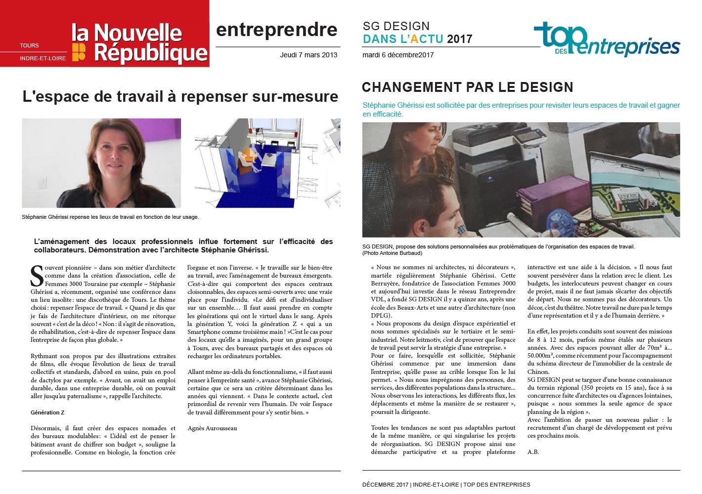 """Journal - LA NOUVELLE RÉPUBLIQUE - """"entreprendre"""""""